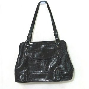 Relic Purse Shoulder Bag Croc Pattern Black